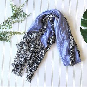 Loft purple floral black white lightweight scarf